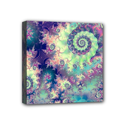 Violet Teal Sea Shells, Abstract Underwater Forest Mini Canvas 4  x 4  (Stretched)