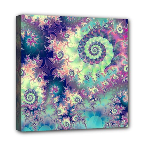 Violet Teal Sea Shells, Abstract Underwater Forest Mini Canvas 8  x 8  (Stretched)