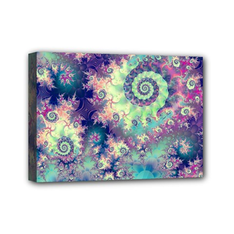Violet Teal Sea Shells, Abstract Underwater Forest Mini Canvas 7  x 5  (Stretched)