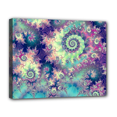 Violet Teal Sea Shells, Abstract Underwater Forest Canvas 14  x 11  (Stretched)