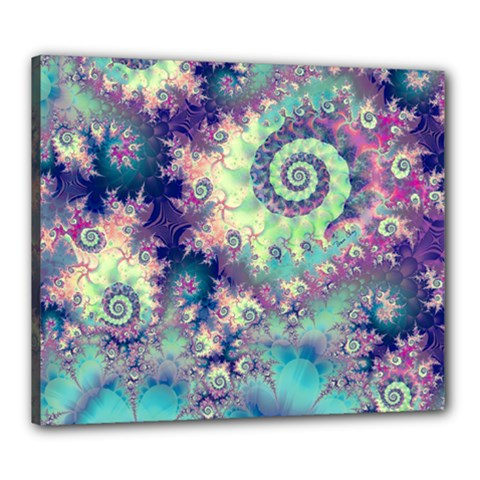 Violet Teal Sea Shells, Abstract Underwater Forest Canvas 24  x 20  (Stretched)