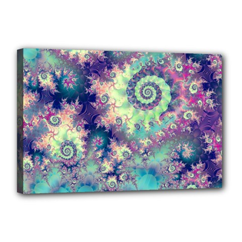 Violet Teal Sea Shells, Abstract Underwater Forest Canvas 18  x 12  (Stretched)