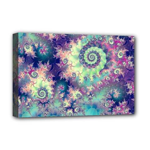 Violet Teal Sea Shells, Abstract Underwater Forest Deluxe Canvas 18  X 12  (stretched)