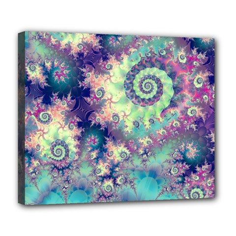 Violet Teal Sea Shells, Abstract Underwater Forest Deluxe Canvas 24  x 20  (Stretched)