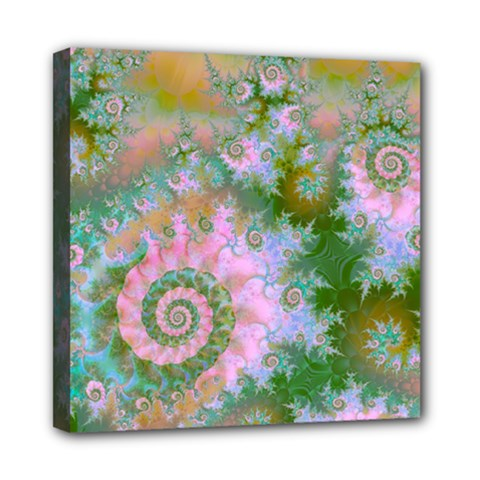 Rose Forest Green, Abstract Swirl Dance Mini Canvas 8  X 8  (framed)