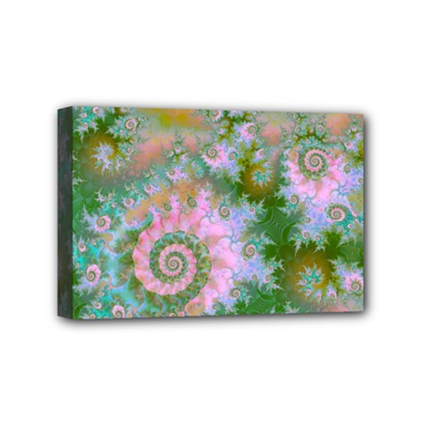 Rose Forest Green, Abstract Swirl Dance Mini Canvas 6  x 4  (Framed)