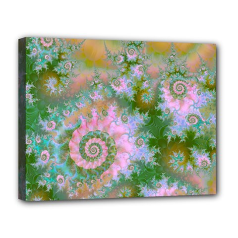 Rose Forest Green, Abstract Swirl Dance Canvas 14  x 11  (Framed)