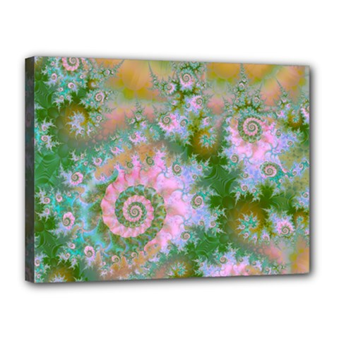 Rose Forest Green, Abstract Swirl Dance Canvas 16  X 12  (framed)