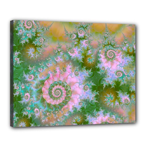 Rose Forest Green, Abstract Swirl Dance Canvas 20  x 16  (Framed)