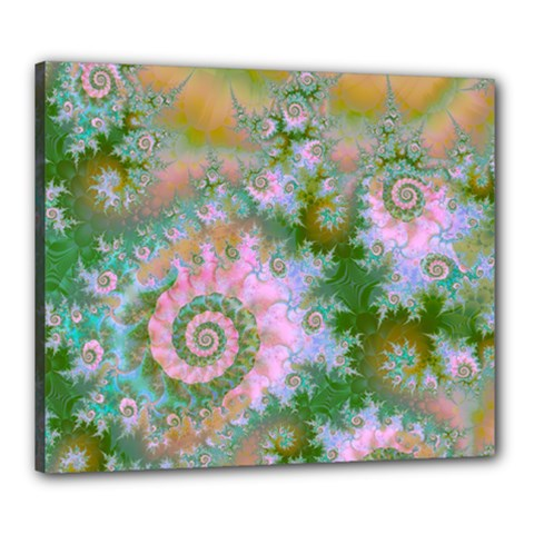 Rose Forest Green, Abstract Swirl Dance Canvas 24  x 20  (Framed)