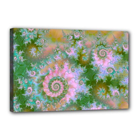 Rose Forest Green, Abstract Swirl Dance Canvas 18  x 12  (Framed)