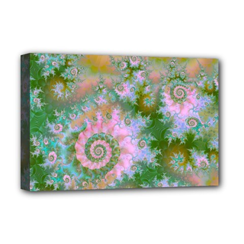 Rose Forest Green, Abstract Swirl Dance Deluxe Canvas 18  x 12  (Framed)