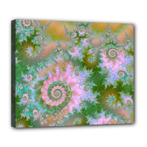 Rose Forest Green, Abstract Swirl Dance Deluxe Canvas 24  x 20  (Framed)