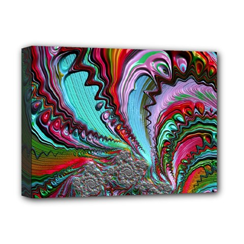 Special Fractal 02 Red Deluxe Canvas 16  X 12  (framed)