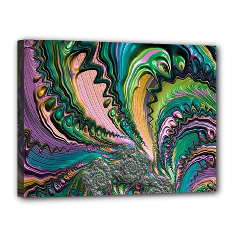 Special Fractal 02 Purple Canvas 16  x 12  (Framed)