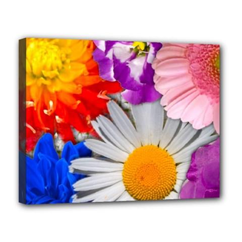 Lovely Flowers, Blue Canvas 14  x 11  (Framed)