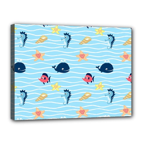 Fun Fish Of The Ocean Canvas 16  X 12  (framed)