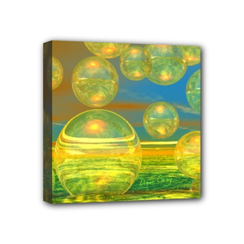 Golden Days, Abstract Yellow Azure Tranquility Mini Canvas 4  X 4  (framed)