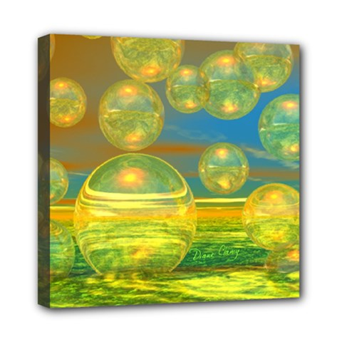 Golden Days, Abstract Yellow Azure Tranquility Mini Canvas 8  x 8  (Framed)