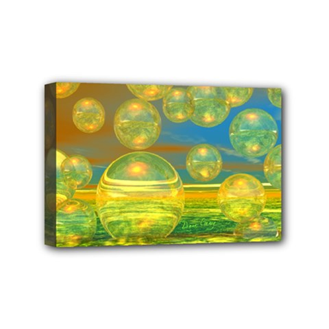 Golden Days, Abstract Yellow Azure Tranquility Mini Canvas 6  x 4  (Framed)