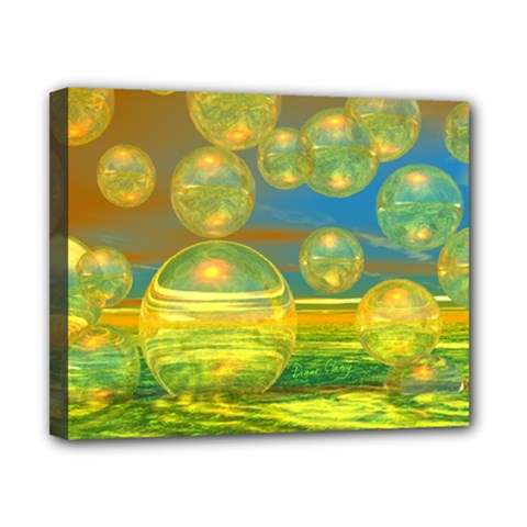 Golden Days, Abstract Yellow Azure Tranquility Canvas 10  X 8  (framed)