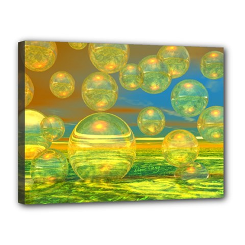 Golden Days, Abstract Yellow Azure Tranquility Canvas 16  x 12  (Framed)