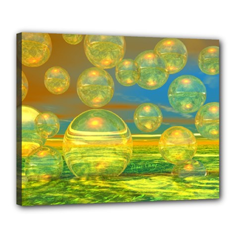 Golden Days, Abstract Yellow Azure Tranquility Canvas 20  x 16  (Framed)