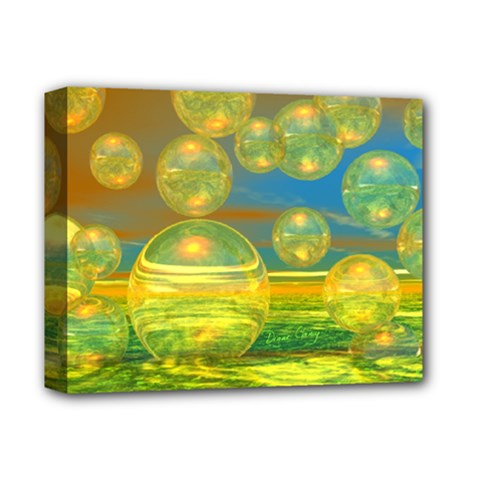 Golden Days, Abstract Yellow Azure Tranquility Deluxe Canvas 14  X 11  (framed)