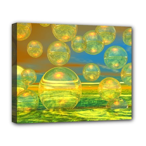 Golden Days, Abstract Yellow Azure Tranquility Deluxe Canvas 20  x 16  (Framed)