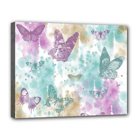 Joy Butterflies Canvas 14  x 11  (Framed)