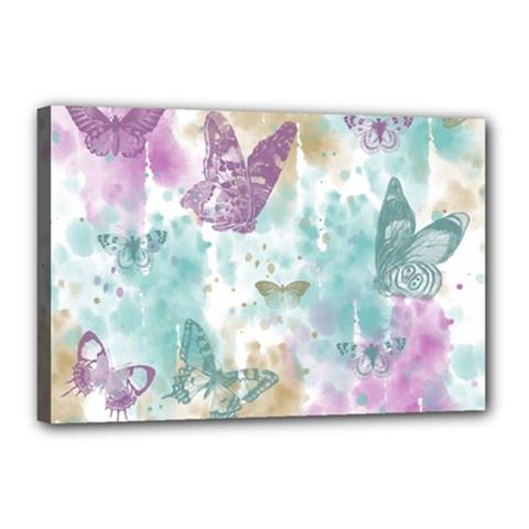 Joy Butterflies Canvas 18  x 12  (Framed)