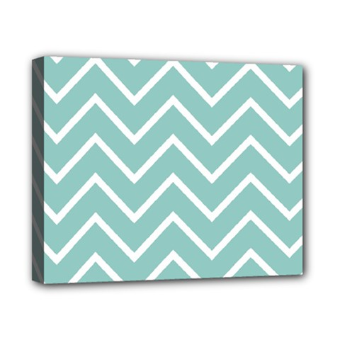 Blue And White Chevron Canvas 10  x 8  (Framed)