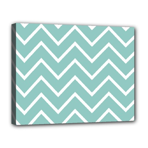 Blue And White Chevron Canvas 14  X 11  (framed)