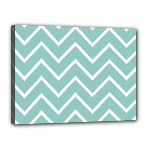 Blue And White Chevron Canvas 16  x 12  (Framed)