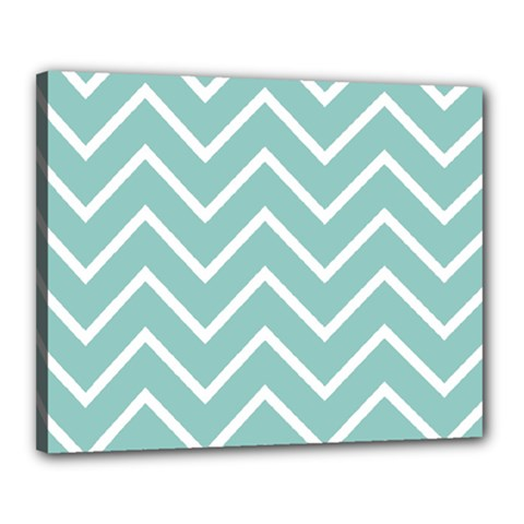Blue And White Chevron Canvas 20  x 16  (Framed)