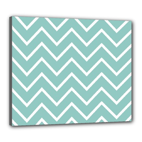 Blue And White Chevron Canvas 24  x 20  (Framed)