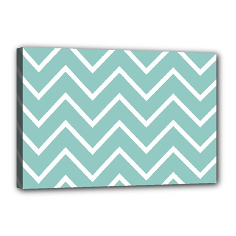 Blue And White Chevron Canvas 18  x 12  (Framed)