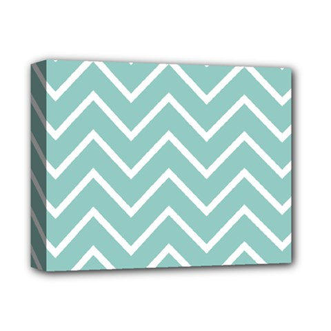 Blue And White Chevron Deluxe Canvas 14  X 11  (framed)