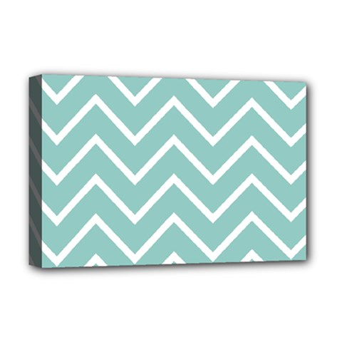 Blue And White Chevron Deluxe Canvas 18  x 12  (Framed)