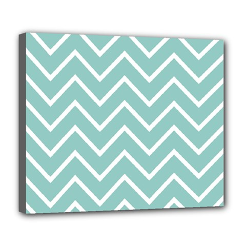 Blue And White Chevron Deluxe Canvas 24  x 20  (Framed)