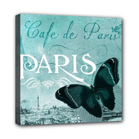 Paris Butterfly Mini Canvas 8  x 8  (Framed)