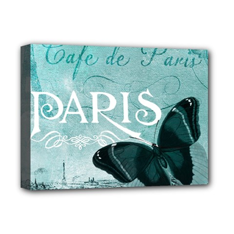 Paris Butterfly Deluxe Canvas 16  x 12  (Framed)