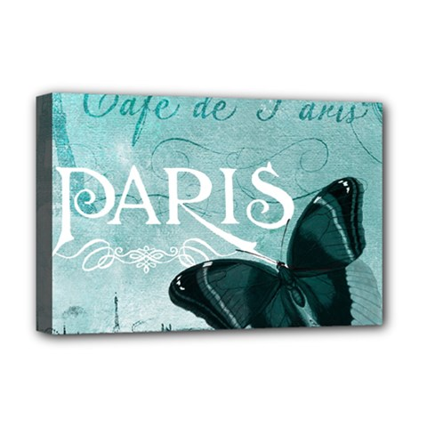 Paris Butterfly Deluxe Canvas 18  x 12  (Framed)