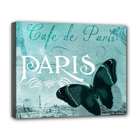 Paris Butterfly Deluxe Canvas 20  X 16  (framed)