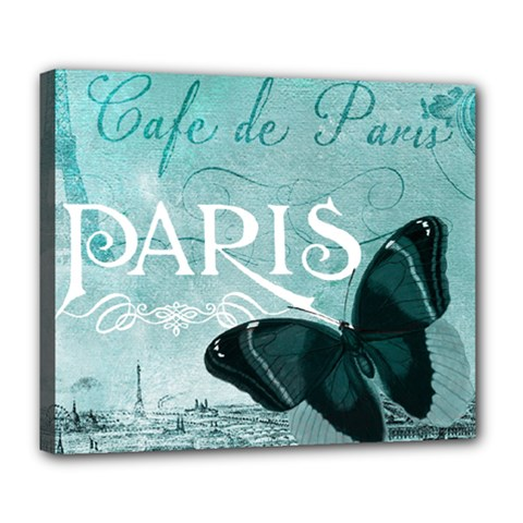 Paris Butterfly Deluxe Canvas 24  X 20  (framed)