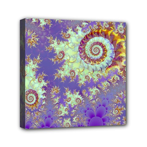 Sea Shell Spiral, Abstract Violet Cyan Stars Mini Canvas 6  X 6  (framed)