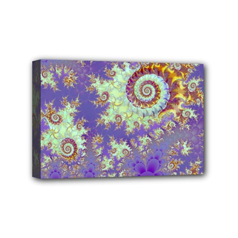 Sea Shell Spiral, Abstract Violet Cyan Stars Mini Canvas 6  x 4  (Framed)