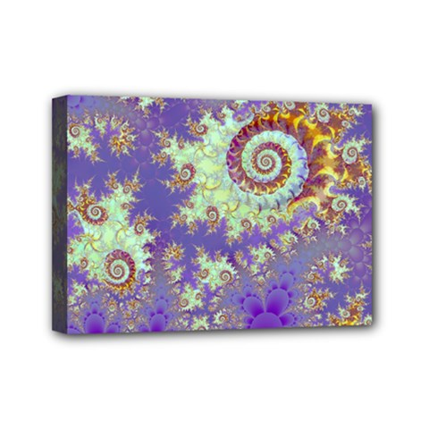 Sea Shell Spiral, Abstract Violet Cyan Stars Mini Canvas 7  x 5  (Framed)