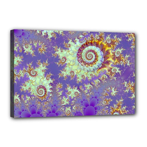 Sea Shell Spiral, Abstract Violet Cyan Stars Canvas 18  x 12  (Framed)