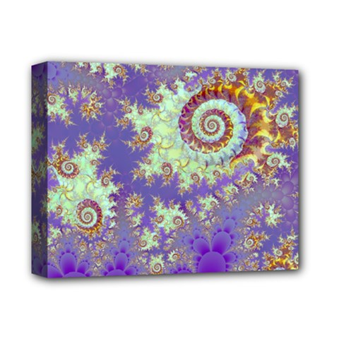 Sea Shell Spiral, Abstract Violet Cyan Stars Deluxe Canvas 14  X 11  (framed)